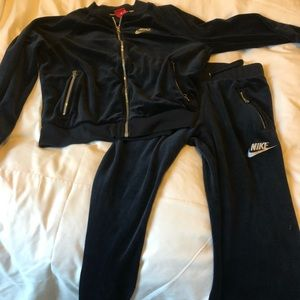Nike Tracksuit Velour navy small